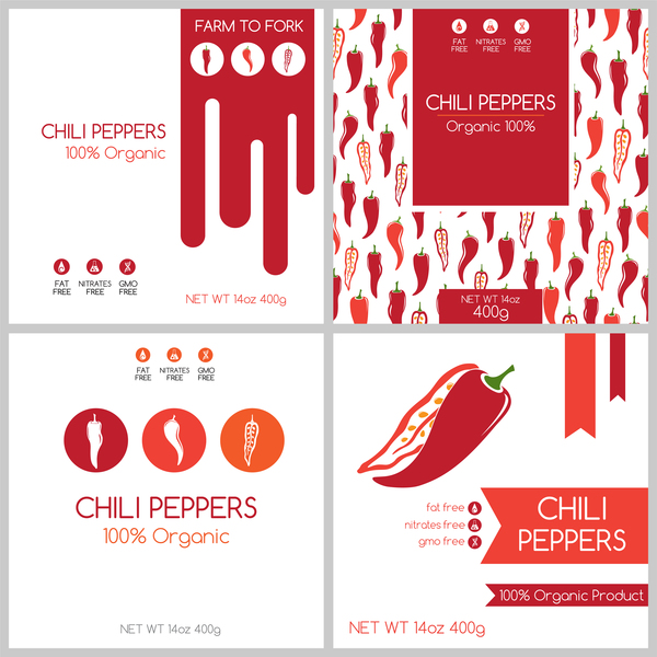 Chili peppees package box template vector