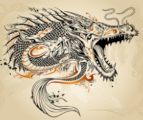 Chinese dragon hand drawing vector 01
