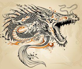 Chinese dragon hand drawing vector 01