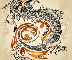 Chinese dragon hand drawing vector 02
