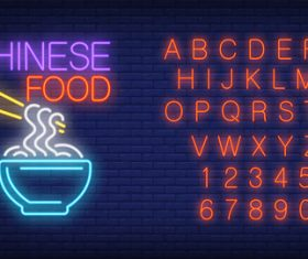 Chinese food with alphabet with number vector