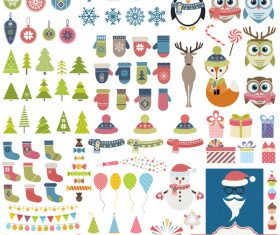 Christmas decor elements vector set