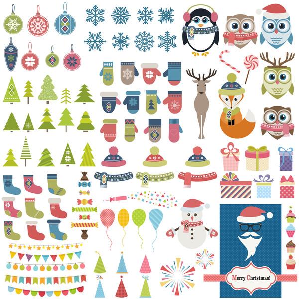 Christmas decor elements vector set