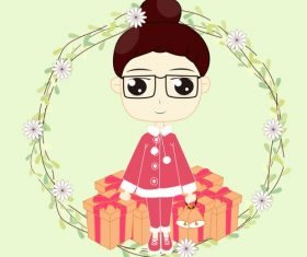 Christmas little girl vector
