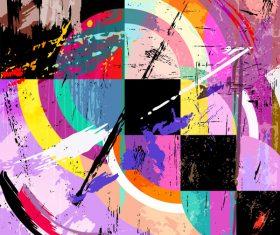 Circle quadrat grunge background vector