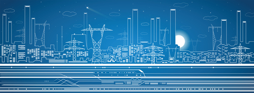 City panorama blueprint vector design 01