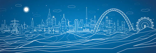 City panorama blueprint vector design 03