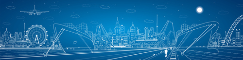 City panorama blueprint vector design 04