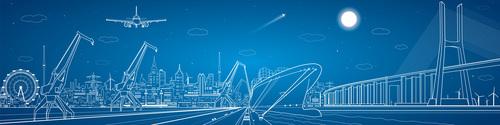 City panorama blueprint vector design 05