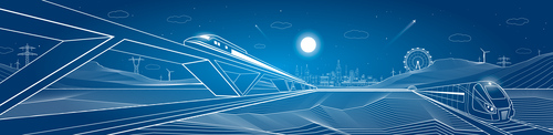 City train blueprint design vector 01