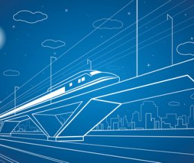 City train blueprint design vector 05