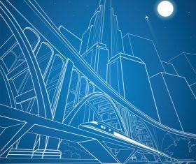City train blueprint design vector 11