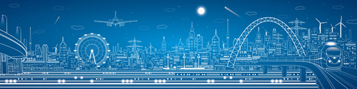 City train blueprint design vector 12