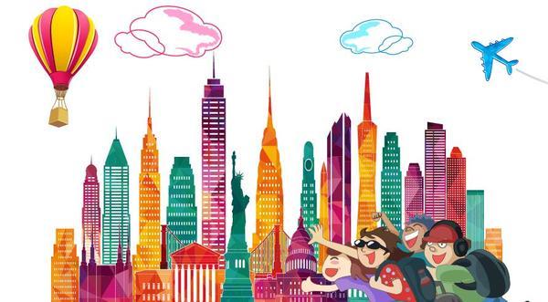City travel elements design vector