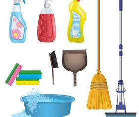 Cleaning tools design vector set 01