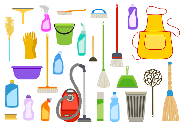 Cleaning tools design vector set 02