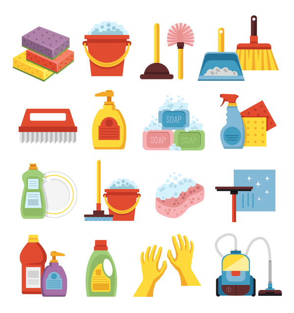 Cleaning tools design vector set 03