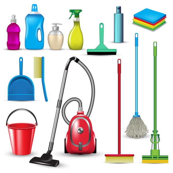 Cleaning tools design vector set 04