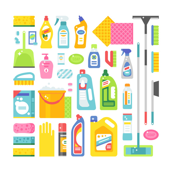 Cleaning tools design vector set 05