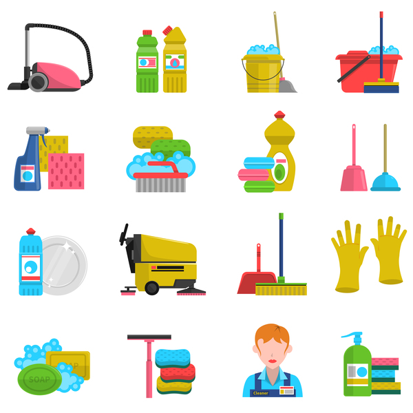 Cleaning tools design vector set 06