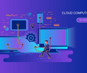 Cloud computer design concept vector