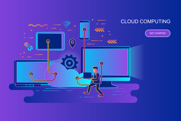 Cloud computer design concept vector
