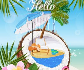 Coconut juice with summer travel vector