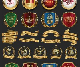 Collection of golden retro vintage badges vector 02