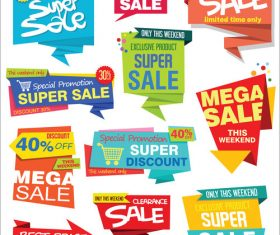 Collection of sale stickers and tags origami design vector illustration 01