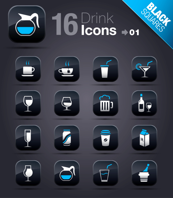 Collection of vector elements picture web design button icon tool drink