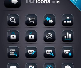 Collection of vector elements picture web design button icon tool web 01