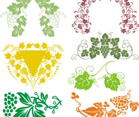 Colored grape decor with frame vector