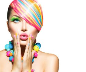 Colorful color hair trendy girl Stock Photo 01