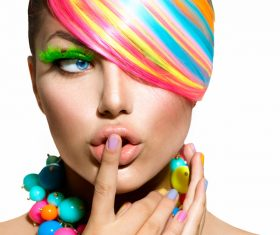 Colorful color hair trendy girl Stock Photo 02