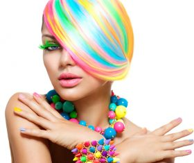Colorful color hair trendy girl Stock Photo 03