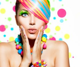 Colorful color hair trendy girl Stock Photo 04