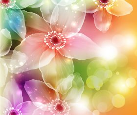 Colorful flower with halation background design vector
