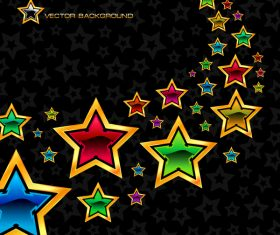 Colorful star with black background vector