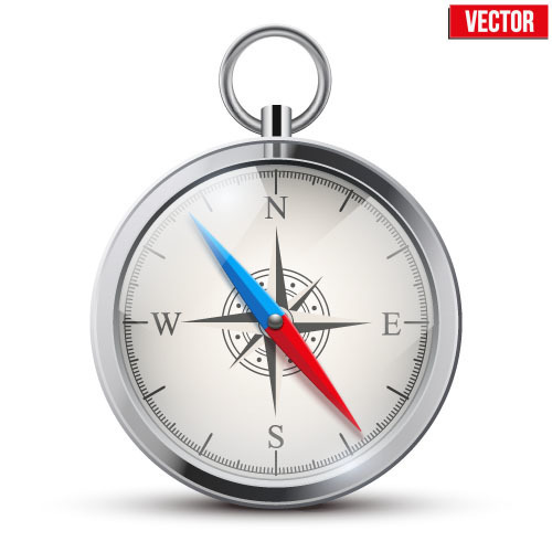 Compass clock illustration vector