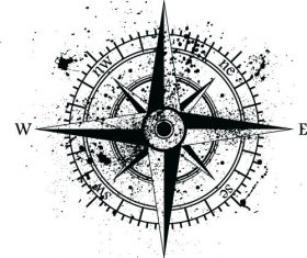 Compass with grunge background vector