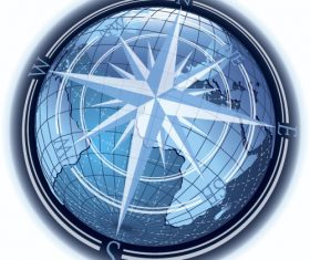 Compass with world map vector