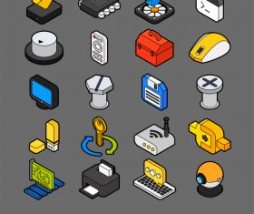 Computer Elements – isometric outline color icons