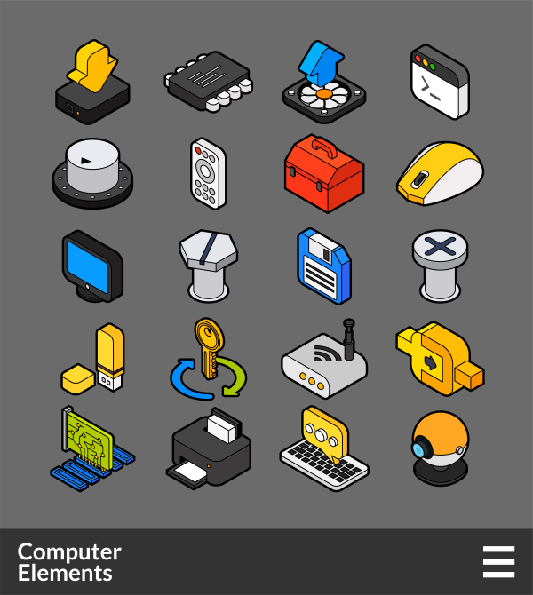 Computer Elements   isometric outline color icons