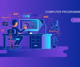 Computer programmers flat design concept vector