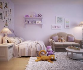 Concept design for a child's room in a subtle violet tone (1)