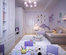 Concept design for a child's room in a subtle violet tone (2)