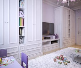 Concept design for a child's room in a subtle violet tone (3)