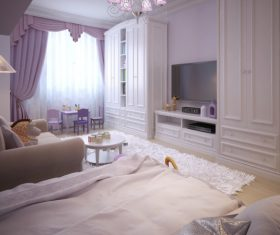 Concept design for a child's room in a subtle violet tone (9)