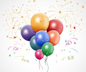 Confetti with balloons and firework background vector