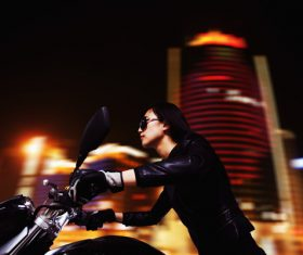 Cool love riding motorcycle woman Stock Photo 06